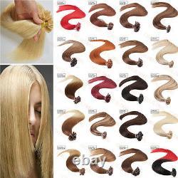 100/200S Keratin Pre Bonded Nail U Tip Glue Remy Human Hair Extensions 16-22