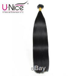 10A Best Quality U Tip Nail Human Hair Extensions Fusion Keratin #1 Jet Black