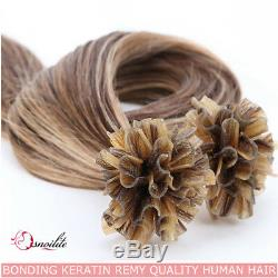150Pcs 1G Bondings Keratin 100% Brazilian Remy Human Hair Nail U-Tip Extensions