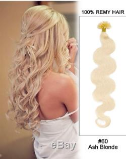 15-24 U Nail Tip Pre Bonded Keratin Fusion Remy Body Wave Human Hair Extensions