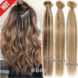 200Strands Russian U-Tip Nail 100% Remy Human Hair Extensions Pre Bonded Keratin