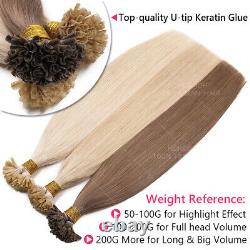 200Strands U-Tip Nail 100% Remy Human Hair Extensions 1G Glue Pre Bonded Keratin