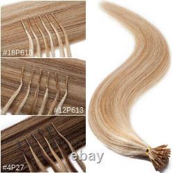 200 Sticks Pre Bonded I TIP Real Virgin Human Hair Extensions Micro Ring Keratin