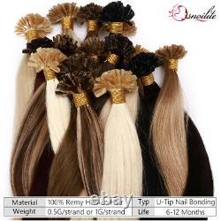 300PCS Russian Nail U Tip 100% Remy Human Hair Extensions Pre Bonded Keratin 1G