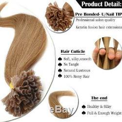7A Pre Bonded U Nail Tip Keratin Remy Human Brazilian 100% Hair Extensions US 1G