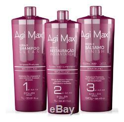 Agi Max Brazilian Keratin Hair Treatment Kit 1 Liter 3 Steps (3 X 1000Ml) Th