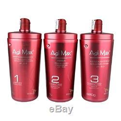 Agi Max Brazilian Keratin Hair Treatment Kit 1 liter 3 Steps (3 x 1000ml) T