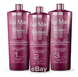 Agi Max Brazilian Keratin Hair Treatment Kit 1 liter 3 Steps 3 x 1000ml T