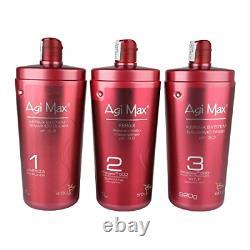 Agi Max Brazilian Keratin Hair Treatment Kit 1 liter 3 Steps 3 x 1000ml The