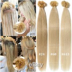 Balayage 8A Keratin Fusion Per Bonded 100% Remy Human Hair Extensions Nail U-Tip