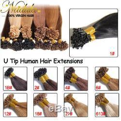 Best 10A Grade Pre Bonded Keratin Fusion Nail U Tip Remy Human Hair Extension US