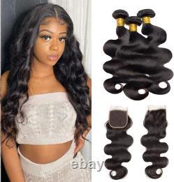 Brazilian Human Hair Bundles VIPbeauty Body Wave Bundles with Closure Natural 22
