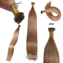 Brazilian Straight Fusion I Tip Stick Keratin Pre Bonded Human Hair Extension US