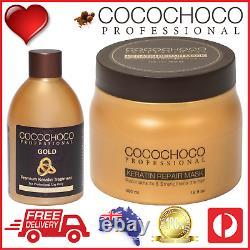 COCOCHOCO Pro GOLD Brazilian Keratin Hair Treatment 250ml + REPAIR Mask 500ml
