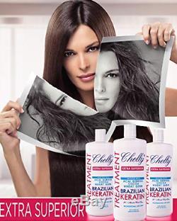Chelly Brazilian Keratin Hair Treatment Chocolate, Cocoa(32oz), Shampoo(10oz), USA