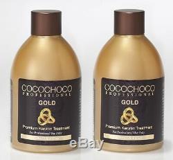 Cocochoco Gold Brazilian Keratin Treatment Blow Dry Hair Straightening 500ml +sh