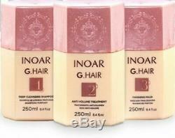 G. Hair Inoar Brazilian Keratin Blow Dry Treatment Kit 3 Litre Or 250ml Set Multi