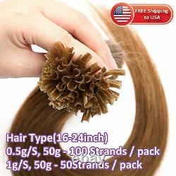 HOT 300PCS Fusion Pre Bonded Keratin Nail U-Tips Real Remy Human Hair Extensions