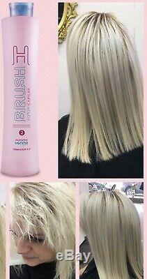 Honma Tokyo H-Brush Keratin Brazilian Hair treatment 2x 1L Straightening