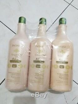 INOAR Brazilian Argan Oil Keratin Professional Hair Treatment System 3X 1L READ