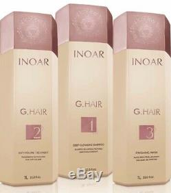 Inoar G-Hair Keratin Brazilian Hair Straightener 3 Steps Kit 3X1L Fast Shipping