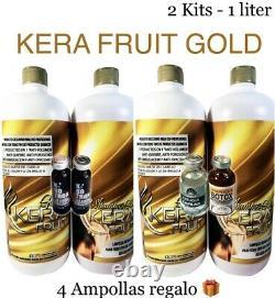 KERA FRUIT GOLD KERATIN BRAZILIAN CIRUGIA CAPILAR AUTENTICA 2 KITS 33 Oz REGALOS