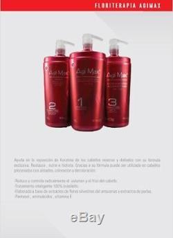 Keratin Agi Max Brazilian Hair Treatment Straightening Kit 500ml 3Steps 3x500m