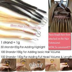 Keratin Nano Ring Tip Real REMY Human Hair Extensions Micro Beads Easy Link 1g/s