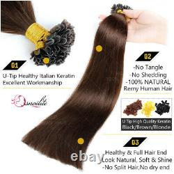 Keratine Fusion Pre bonded 100% Remy Human Hair U-Tip Nail Extensions Capsule US