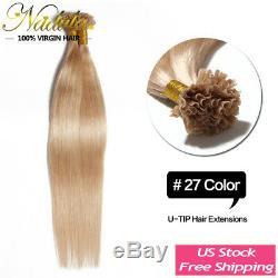 Nadula 100s/200s Pre Bonded Keratin Fusion Nail U Tip Human Hair Extensions 1g/s