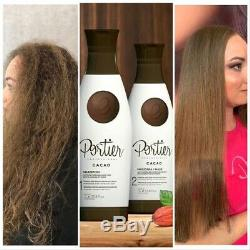 PORTIER CACAU BRAZILIAN KERATIN Shampoo Hair Straightener 1000ml +Mask Botx 1 Kg