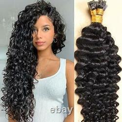 Pre Bonded Flat Tip Hair Extensions Remy Loose Curly Keratin Fusion Human Hair