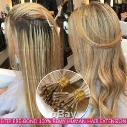 Pre Bonded Keratin Stick I Tip 100% Remy Human Hair Extensions Nano Ring Bead 1G