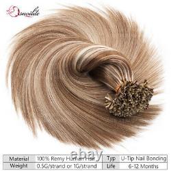 Russian 100% Remy Human Hair Extensions Nail U Tip Pre Bonded Keratin 1G Blonde