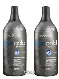 Salvatore Blue Gold Premium Tanino Brazilian Progressive Keratin Treatment 34oz