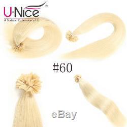 UNice 8A 100s Keratin Nail U Tip Human Hair Extensions Brazilian Remy Human hair