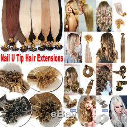 USA 1G/S Double Thick Remy Human Hair Extensions Pre Bonded Keratin Nail U Tip H