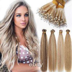 US New Nano Ring Beads Human Hair Extensions Keratin Nano Tips Ombre/Highlight E