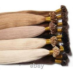 U Nail Tip Real Remy 100% Human Hair Extensions Keratin Pre Bonded 1G Brazilian