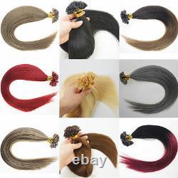 100/200s Keratin Pré Bonded Nail U Astuce Colle Remy Extensions De Cheveux Humains 16-22