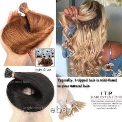 100g 100 Brins Kératine Fusion Stick I Tip Human Hair Extensions Micro Ring R67