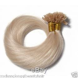 100s Kératine Nail U Tip Colle 100% Remy Real Brésilien Prolongements De Cheveux Humains Usps