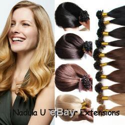 100s Pre Bonded Kératine Bâton I Nail Tip U Tip Remy Réel Prolongements De Cheveux Humains