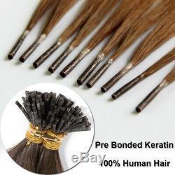 100s Pre Kératine Je Pointe Bonded 100% Remy Prolongements De Cheveux Humains Cheveux Brésiliens 7a