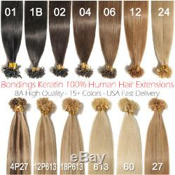 150pcs 1g Bondings Kératine 100% Brésilien Remy Human Nail Hair Extensions U-tip