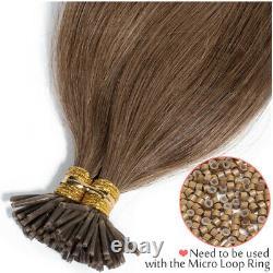 200 Sticks Pre Bonded I Tip Real Virgin Human Hair Extensions Micro Ring Kératine