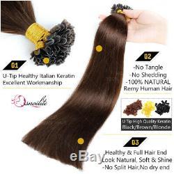 200pcs Fusion Pre Nail U Kératine Tip 100% Remy Hair Extensions Homme Réel