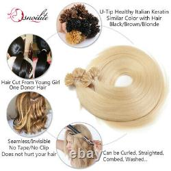 200strands U-tip Ongles 100% Remy Hair Extensions 1g Humaine Colle Pré Kératine