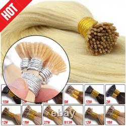 300 Brins Pré Collé Kératine I Tip Stick Remy Human Hair Extensions Micro Ring