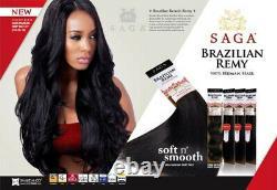 (36cm, De27) Saga Brésilienne Kératine Remy Human Hair Weave Remy Yaky 36cm